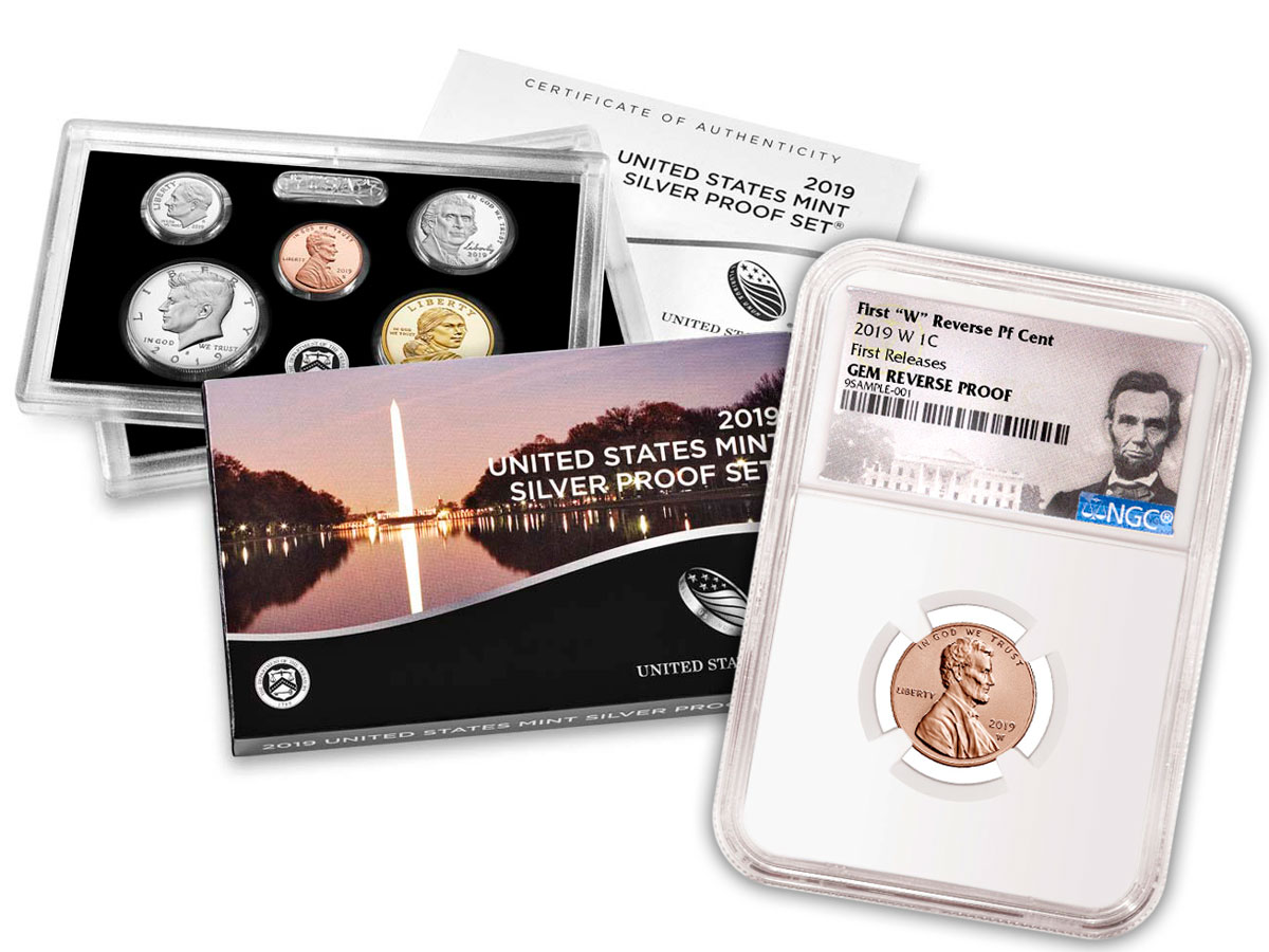 2019 U.S. Silver Proof Coin Set OGP + 2019-W Lincoln Cent NGC GEM Reverse Proof FR Lincoln Label