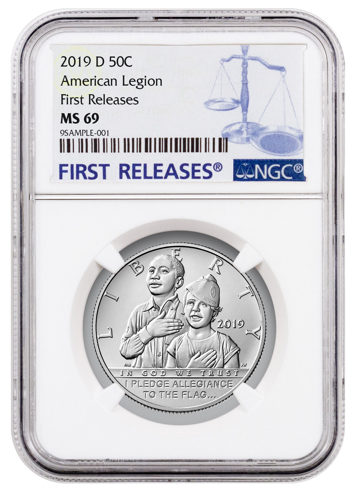 2019 D American Legion 100th Clad Half Dollar NGC MS69 FR Black Core SKU57406