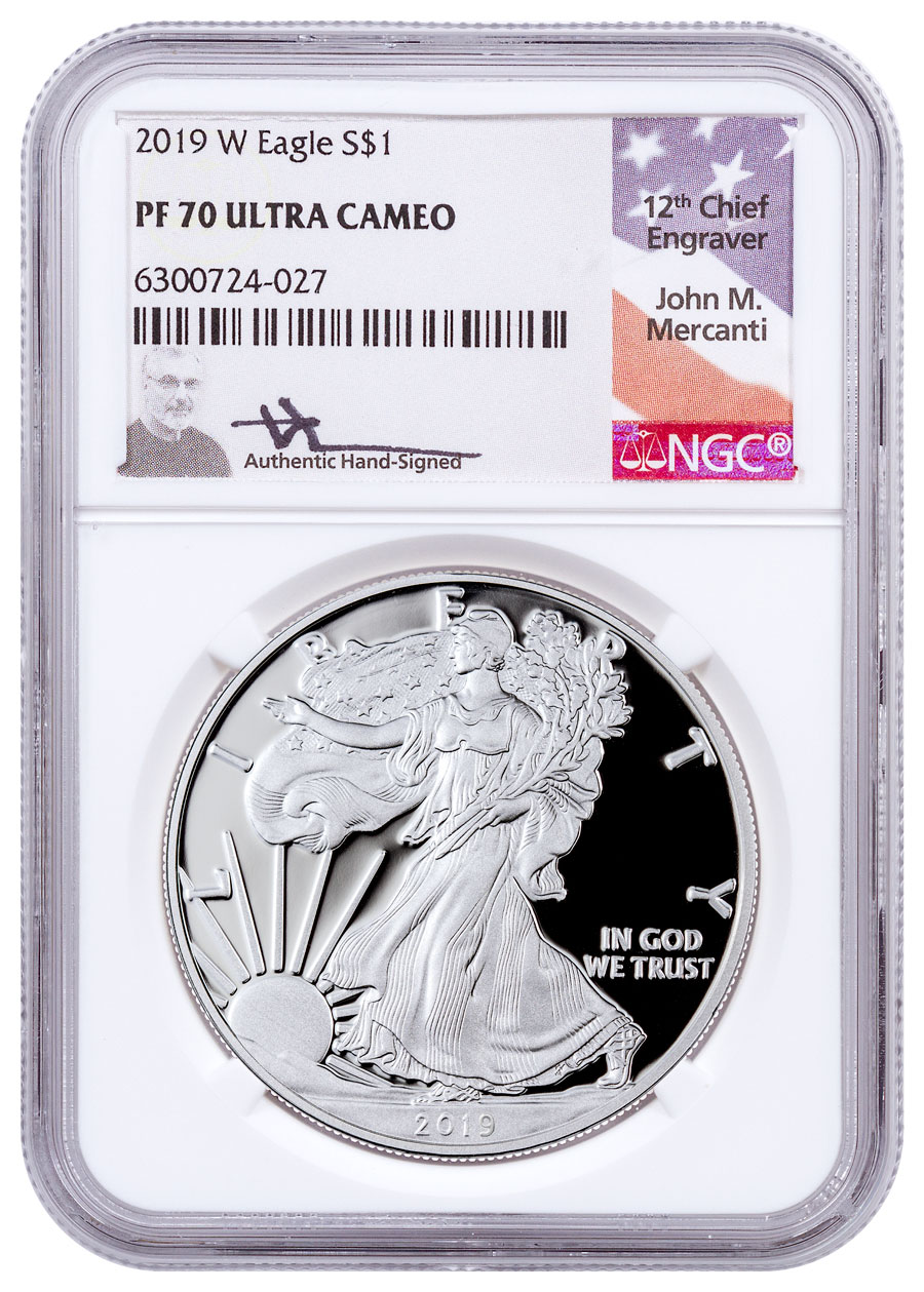 2019-W Proof American Silver Eagle NGC PF70 UC Mercanti Signed Label