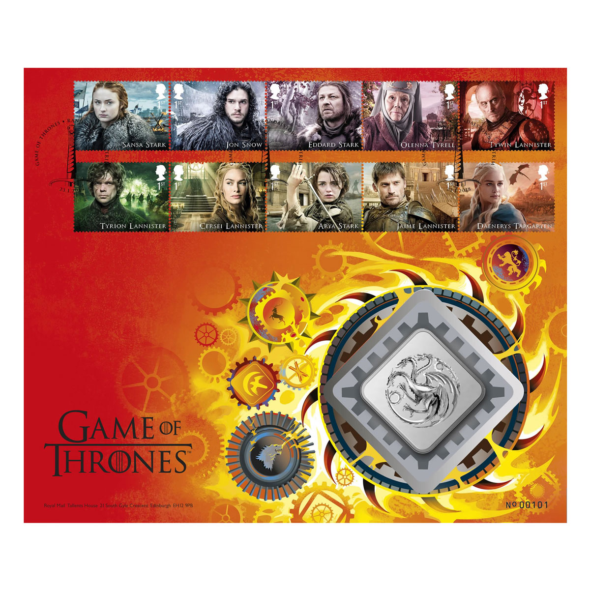 A Game of Thrones Clad Medal House Targarygen GEM BU Cover