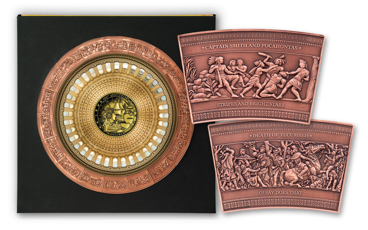 19-Piece - 2020 Solomon Islands Half Dollar Frieze of American History Antiqued Set