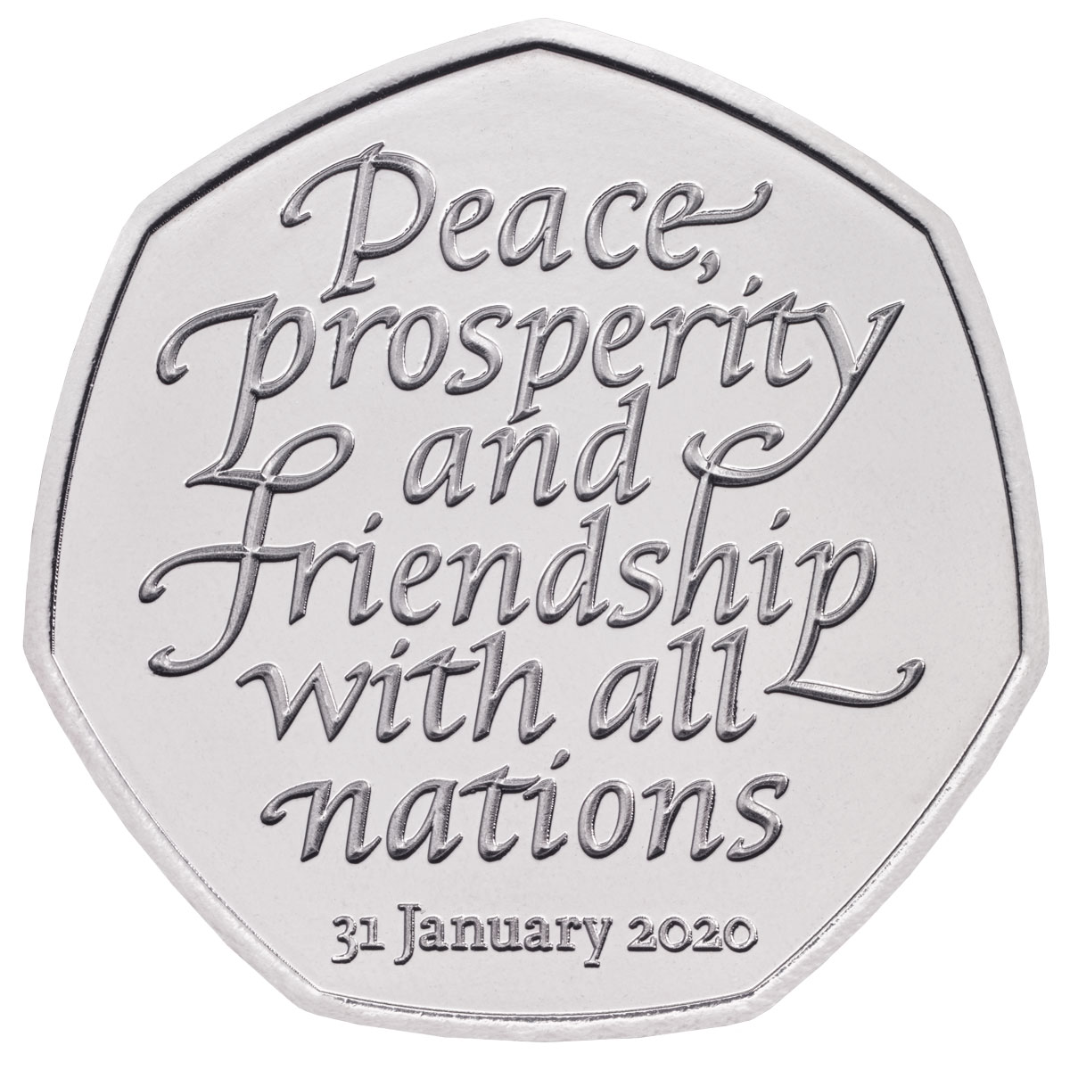 2020 Great Britain Withdrawal from the European Union Heptagonal Clad 50p Coin BU OGP