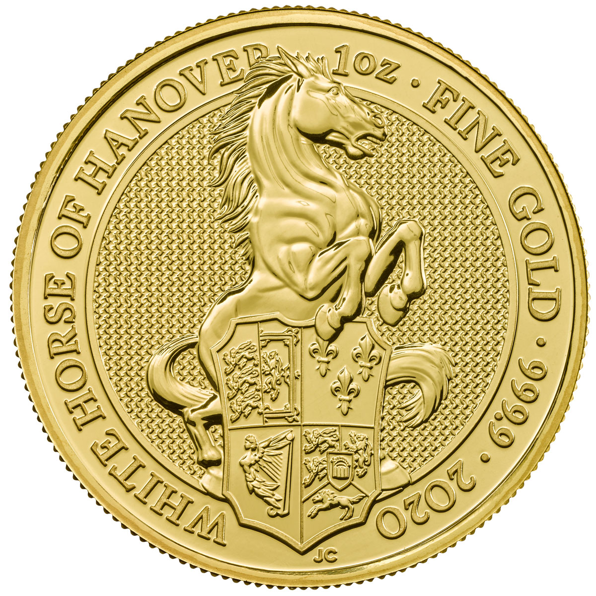 2020 Great Britain 1 oz Gold Queen's Beasts White Horse of Hanover £100 Coin GEM BU