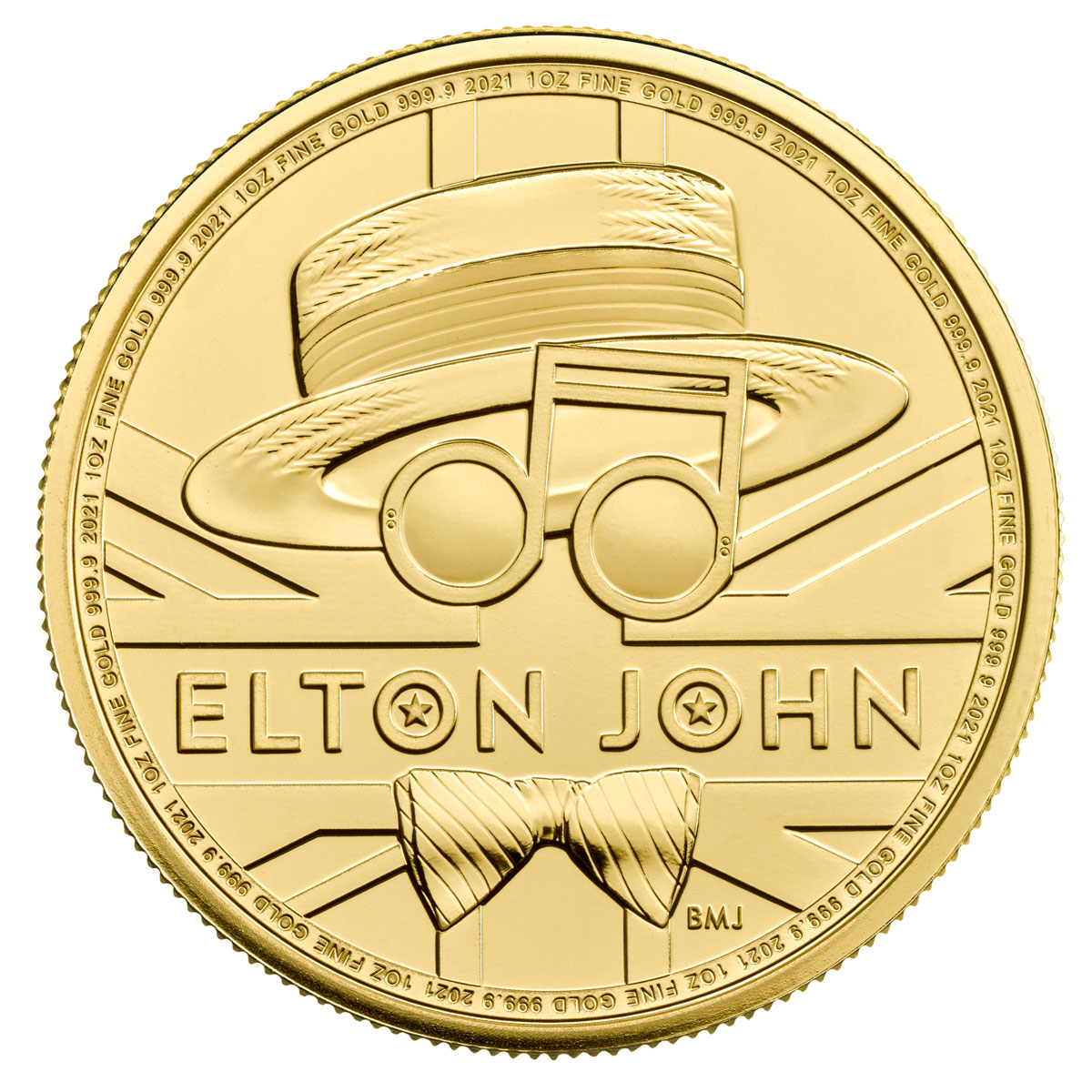2021 Great Britain Legends of British Music - Elton John 1 oz Gold £100 Coin GEM BU