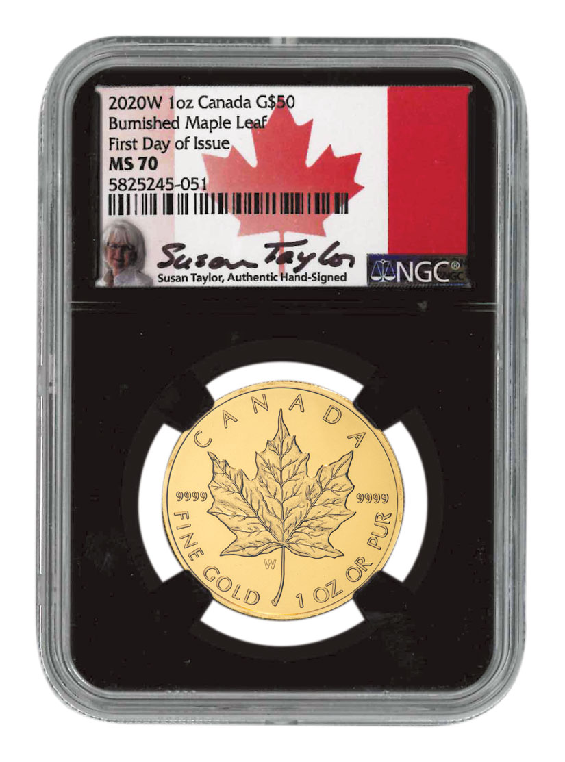 2020-W Canada 1 oz Burnished Gold Maple Leaf $50 Coin Scarce and Unique Coin Division NGC MS70 FDI Black Core Holder Exclusive Susan Taylor Signed Label