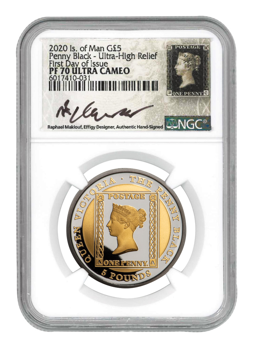 2020 Isle of Man Penny Black Ultra High Relief 1 oz Gold Proof £5 Coin Scarce and Unique Coin Division NGC PF70 UC FDI Exclusive Maklouf Hand Signed Penny Black Custom Label