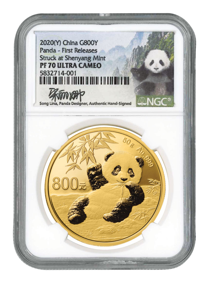 2020 China 50 g Gold Panda Proof ¥800 Coin Scarce and Unique Coin Division NGC PF70 UC FR Song Lina Signed Label