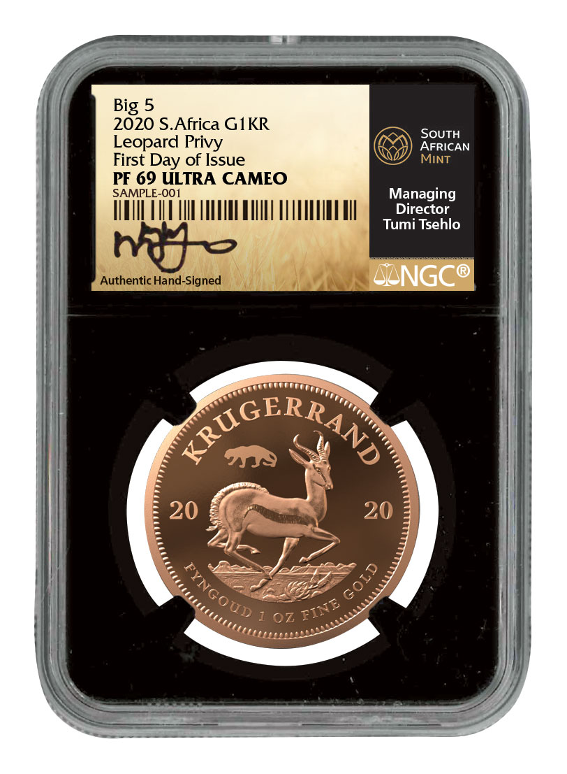 2020 South Africa 1 oz Gold Krugerrand - Big 5 Spotted Leopard Privy Proof Coin Scarce and Unique Coin Division NGC PF69 UC FDI Tumi Signature Krugerrand Label