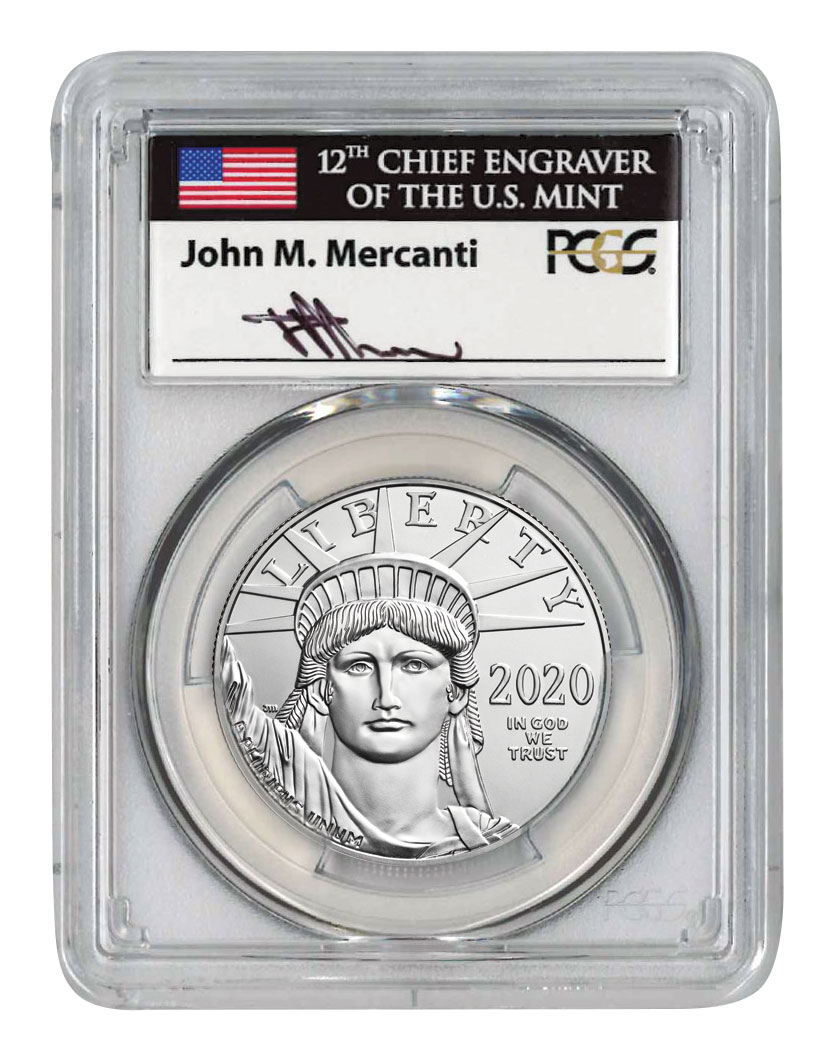2020 1 oz Platinum American Eagle $100 Coin Scarce and Unique Coin Division PCGS MS70 FDI Mercanti Signed Label