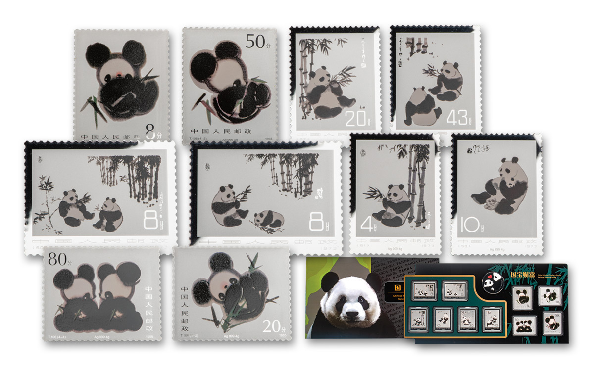 10-Piece Set - 2020 China Panda Stamp Collection Official China Postal Service Release Silver Medal Scarce and Unique Coin Division GEM BU with Blister Pack
