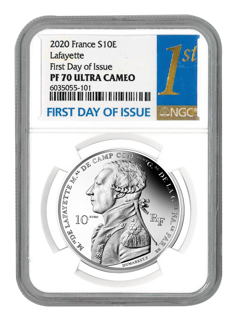 2020 France €10 22.20 gm Silver Lafayette Round Proof Coin Scarce and Unique Coin Division NGC PF70 UC FDI With Mint COA