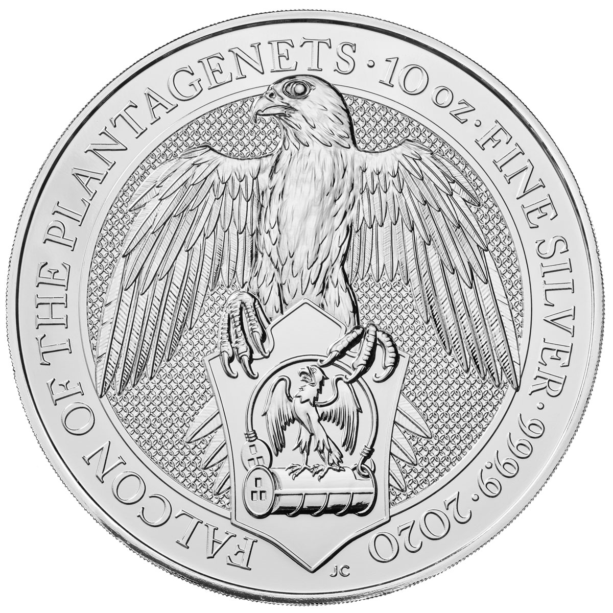 2020 Great Britain 10 oz Silver Queen's Beasts - Falcon of the Plantagenets £10 Coin GEM BU