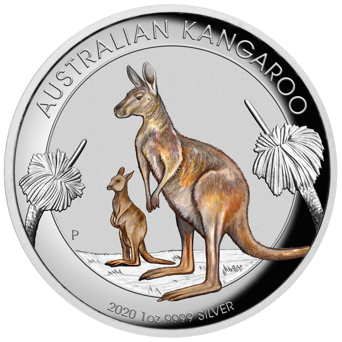 2020-P Australia $1 1 oz Silver Kangaroo Colorized High Relief Proof Coin GEM Proof OGP