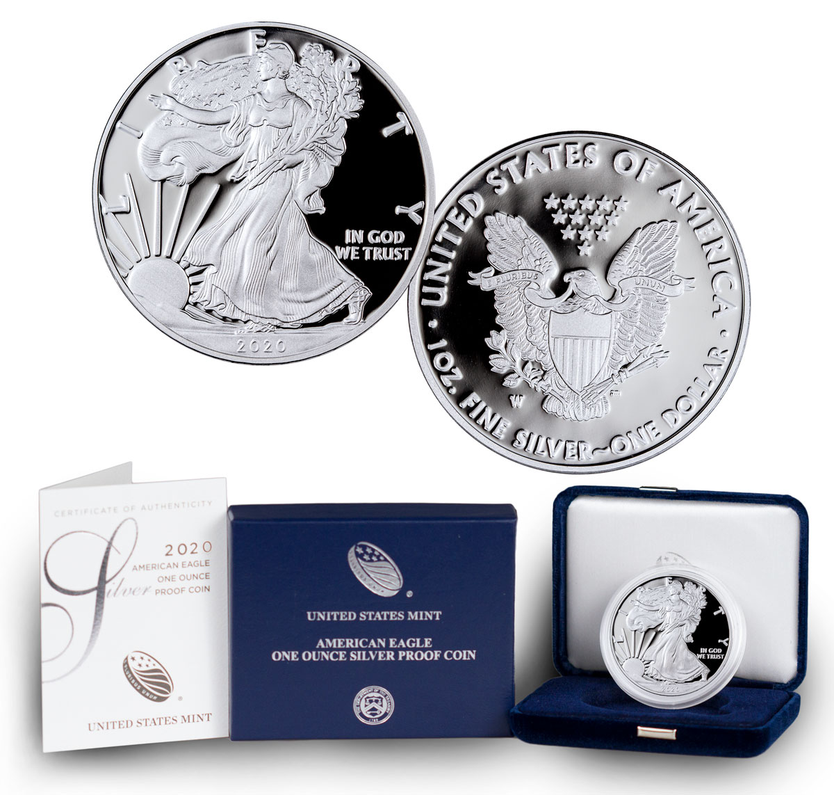 Wedding 2020 1oz Silver Proof Coin: 2020 W 1 Oz Proof Silver American Eagle $1 Coin GEM OGP