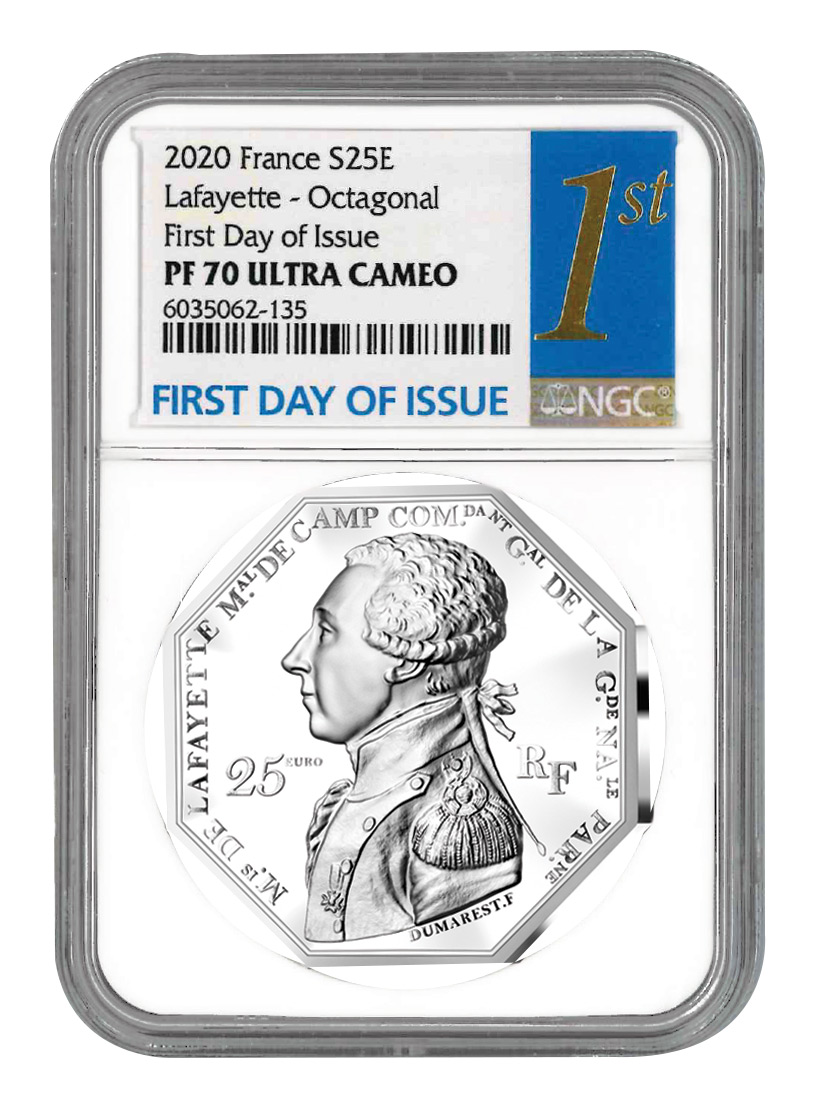 2020 France €25 2 oz Silver Lafayette Octagonal Proof Coin Scarce and Unique Coin Division NGC PF70 UC FDI