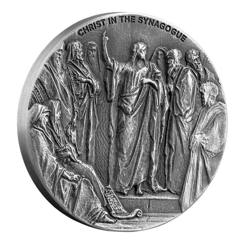 2020 Niue Biblical Coin Series - Christ in the Synagogue High Relief 2 oz Silver Antiqued $2 Coin Proof Original Packaging