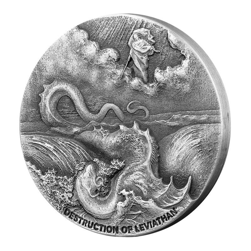2020 Niue Biblical Coin Series - Destruction of Leviathan High Relief 2 oz Silver Antiqued $2 Coin Proof Original Packaging