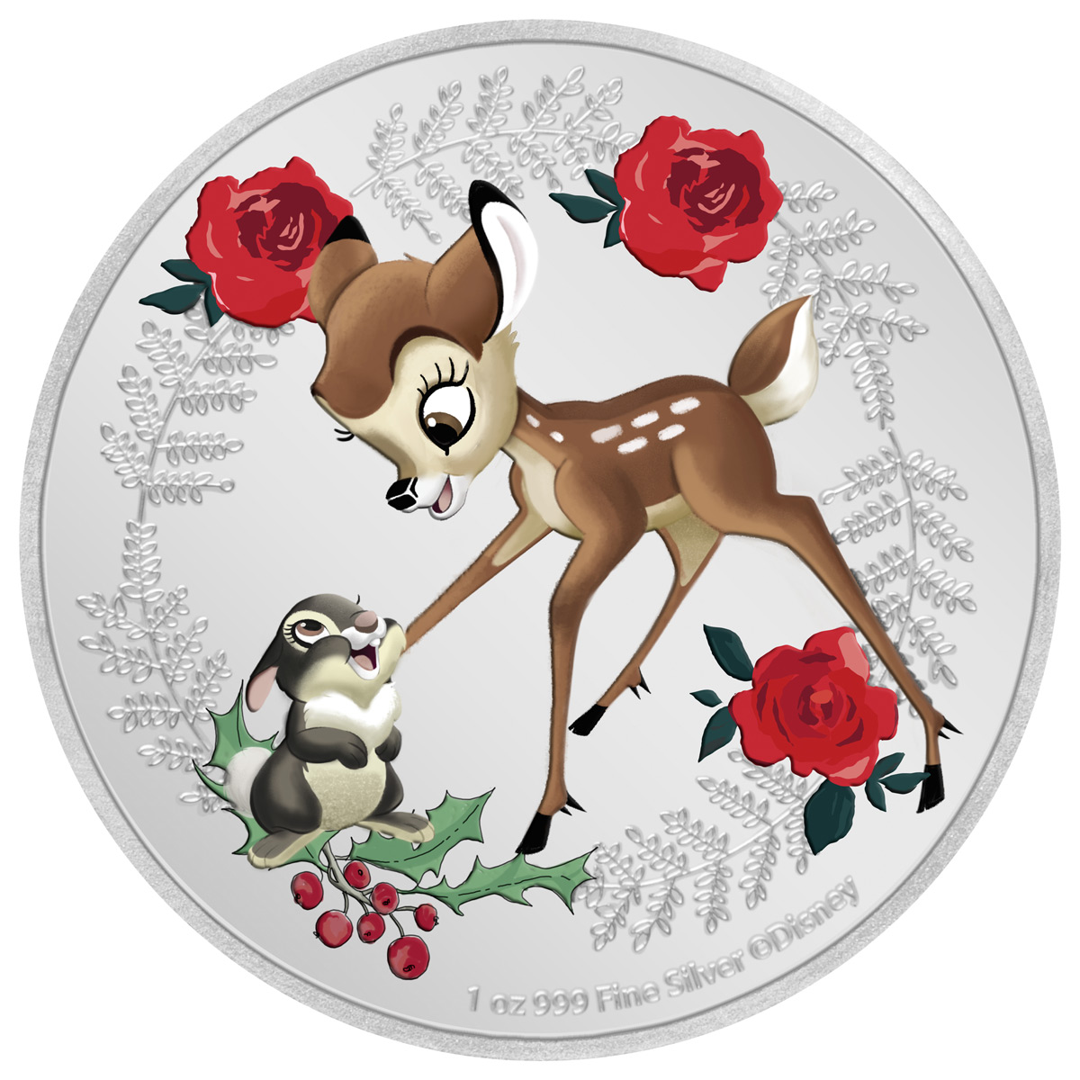 2020 Niue Disney Season's Greetings - Bambi and Thumper 1 oz Silver Colorized Proof $2 Coin GEM Proof OGP