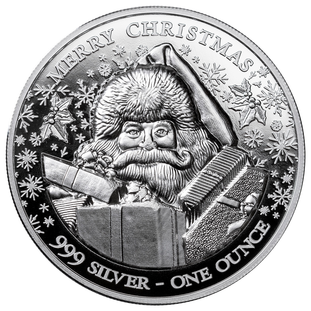 2020 Niue Merry Christmas Santa Claus Ultra High Relief 1 oz Silver $2 Coin GEM BU
