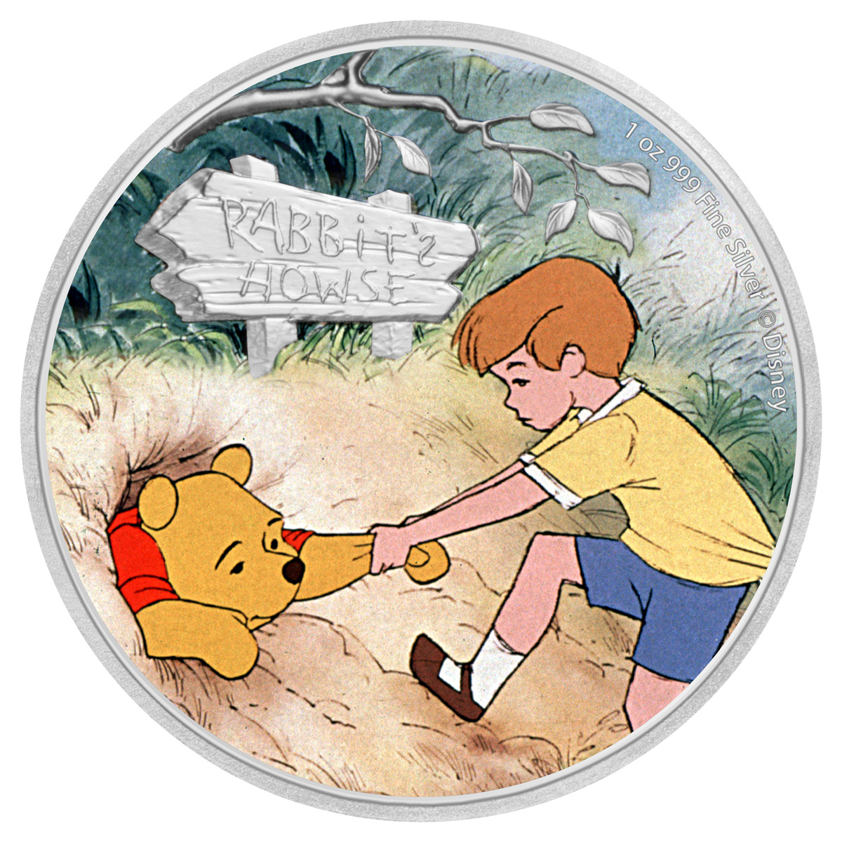 2021 Niue Disney Characters - Winnie the Pooh & Christopher Robin 1 oz Silver Colorized $2 Proof Coin GEM Proof OGP