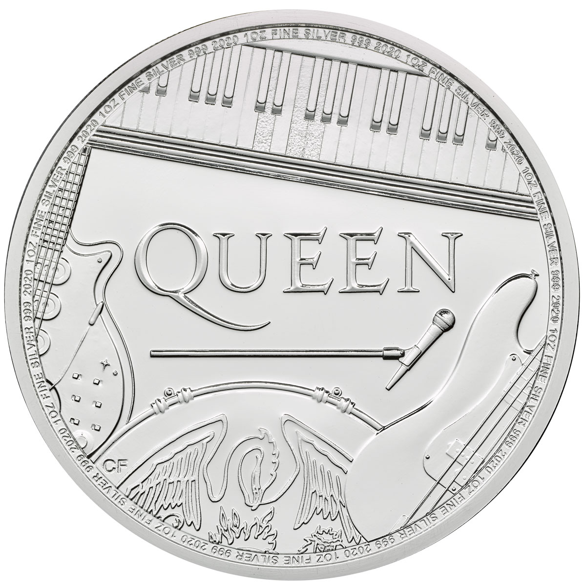 2020 Great Britain Legends of British Music Queen 1 oz Silver £2 Coin GEM BU