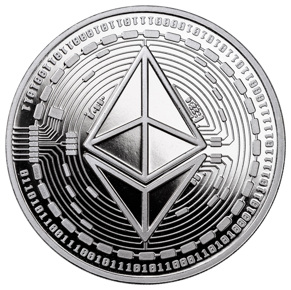2020 Republic of Chad Fr5,000 1 oz Silver Ethereum Crypto Currency Proof Coin GEM Proof