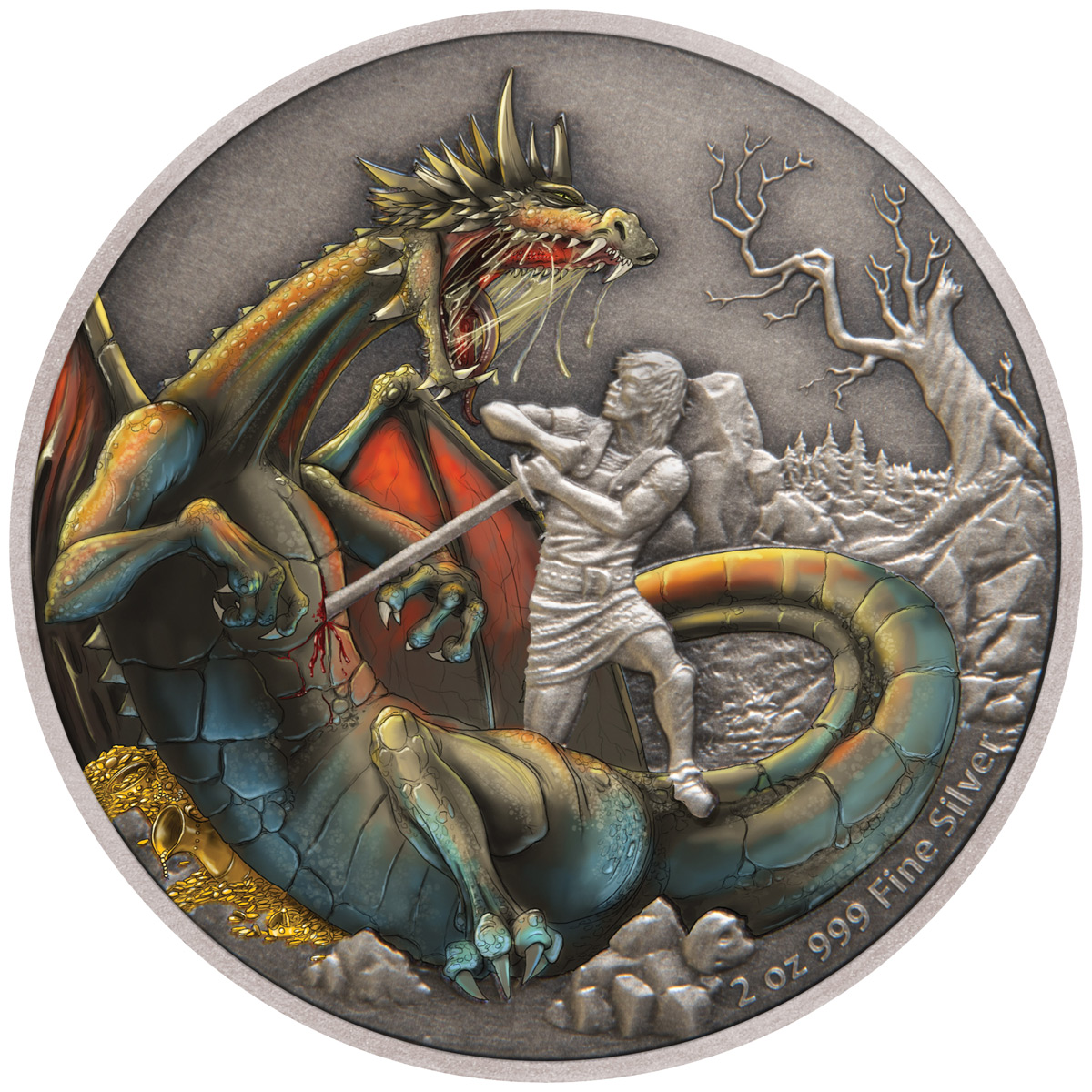 2020 Niue Mythical Dragons of the World - Norse Dragon 2 oz Silver Colorized $5 Coin GEM BU OGP