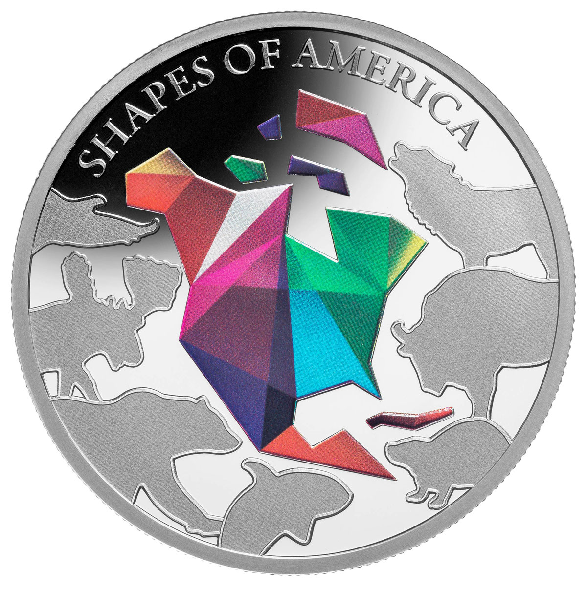 2020 Barbados Shapes of America - Cut-Out High Relief 1 oz Proof-Like Silver $5 Coin Colorized