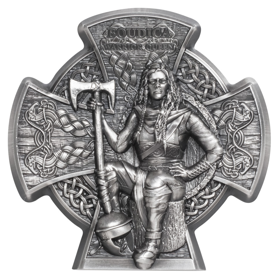 2020 Isle of Man Boudica Cross Shaped Ultra High Relief 3 oz Silver Antiqued £5 Coin GEM BU
