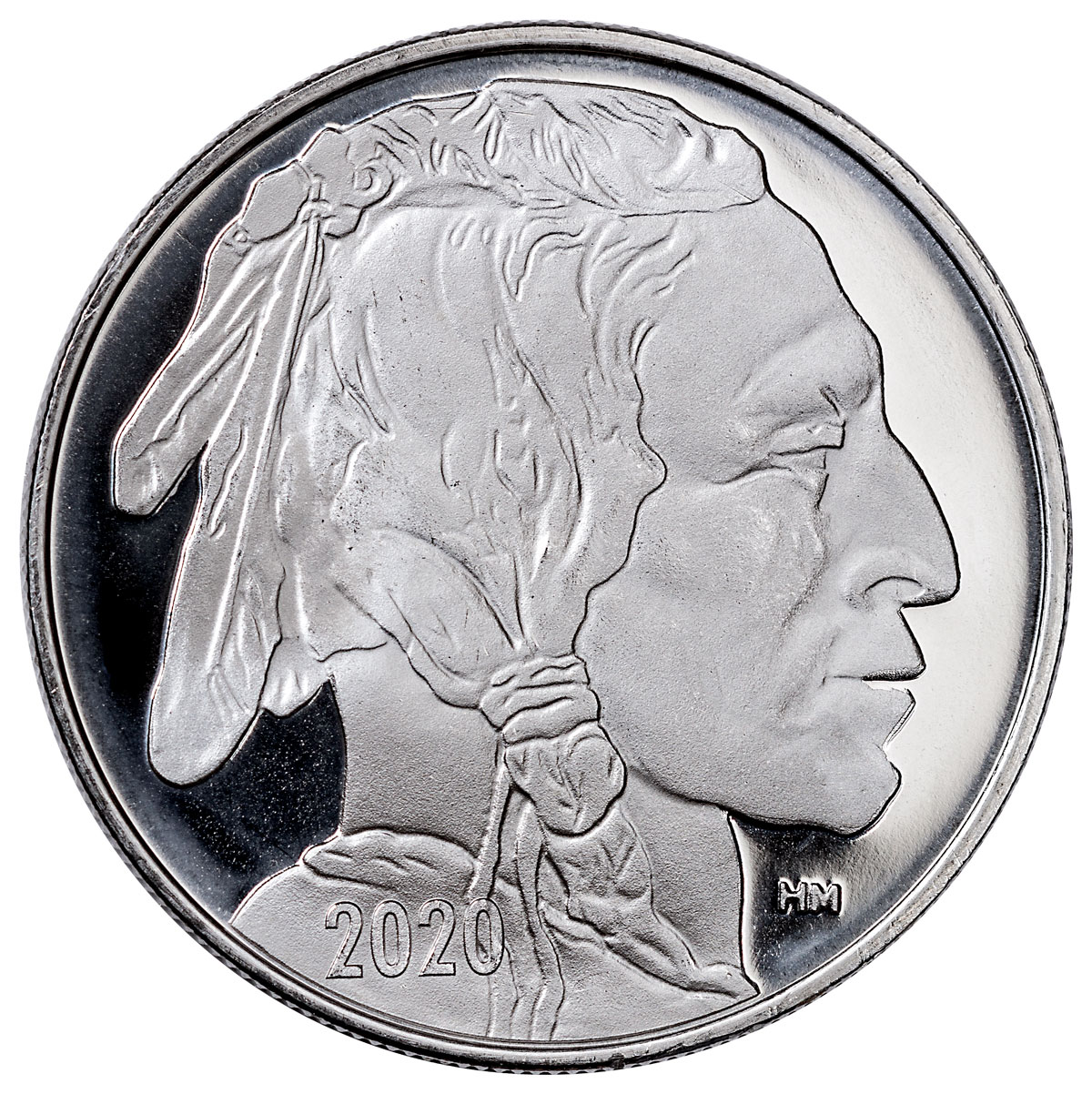 2020 Highland Mint Buffalo Nickel Design 1 oz Silver Round GEM BU