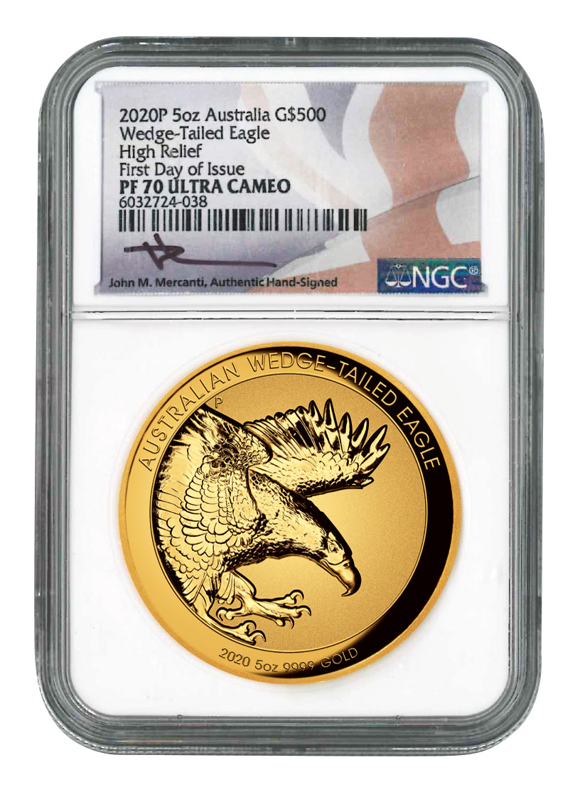 2020-P Australia 5 oz High Relief Gold Wedge-Tailed Eagle Incuse Reverse Proof $500 Coin Scarce and Unique Coin Division NGC PF70 UC FDI Mercanti Signed Flag Label