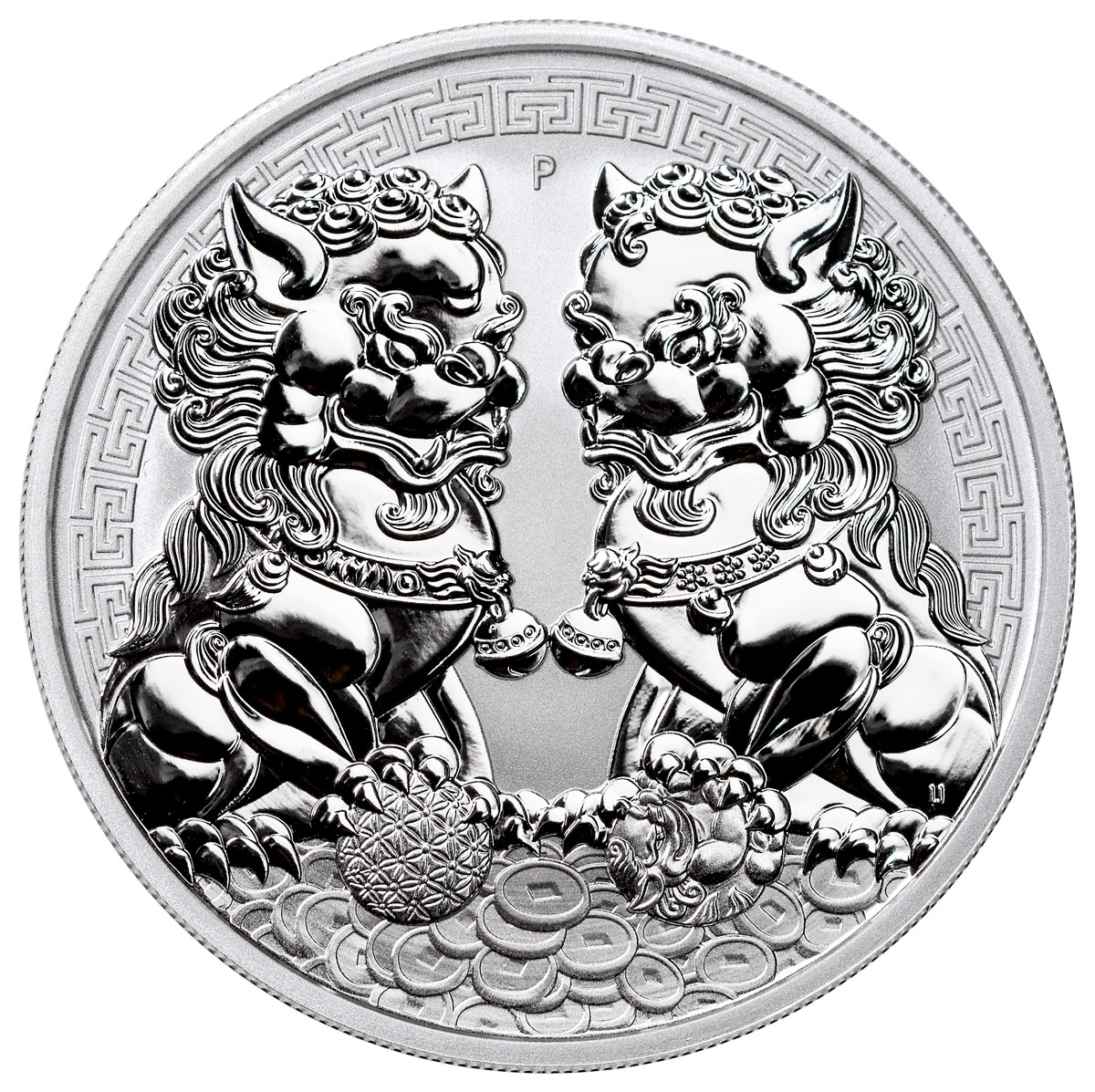 2020-P Australia Double Pixiu Forbidden City Imperial Lion 1 oz Silver $1 Coin GEM BU