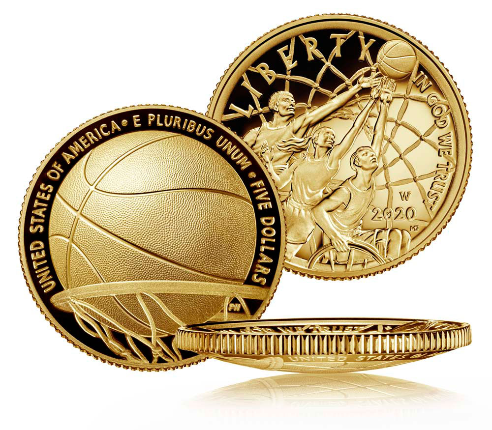 2020-W $5 Basketball Hall of Fame Gold Proof Coin GEM Proof OGP