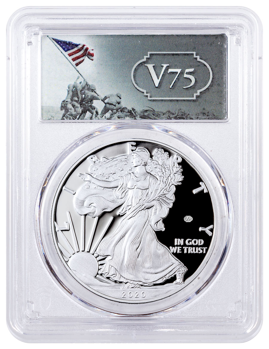 2020-W Proof American Silver Eagle End of World War II 75th Anniversary with V75 privy PCGS PR70 DCAM FS V75 Label