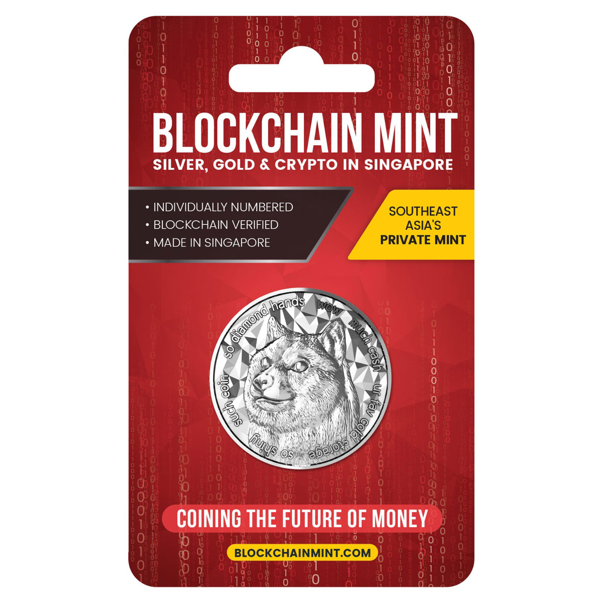 2021 Blockchain Mint DogeCoin Cryptocurrency Commemorative 1 oz Silver Proof Like Medal GEM Prooflike with Blister Pack