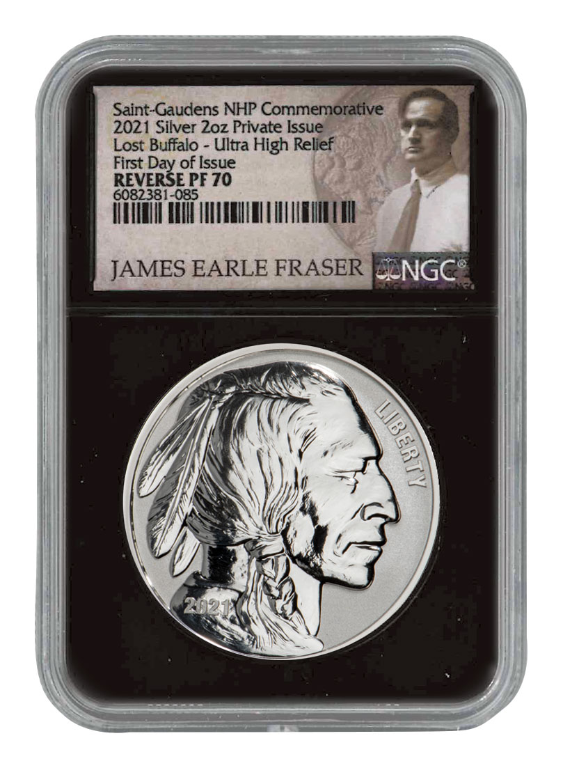 2021 Fraser Lost Buffalo Ultra High Relief 2 oz Silver Reverse Proof Medal Scarce and Unique Coin Division NGC PF70 FDI Black Core Holder Fraser Label