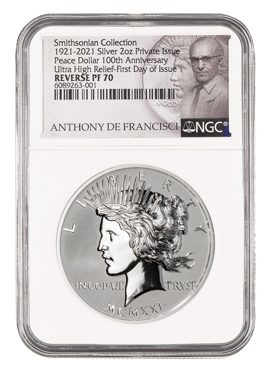 2021 Smithsonian Peace Dollar Ultra High Relief 2 oz Silver Reverse Proof Medal Scarce and Unique Coin Division NGC PF70 FDI De Francisci Label