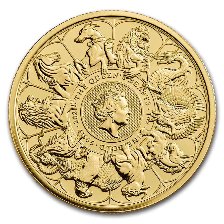 2021 Great Britain 1 oz Gold Queen's Beasts Completer £100 Coin BU
