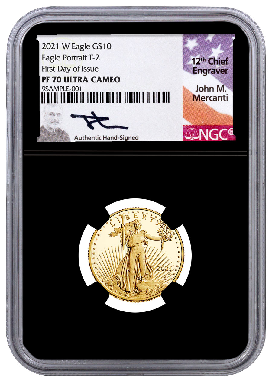 2021-W 1/4 oz Gold American Eagle Type 2 Proof $10 Scarce and Unique Coin Division NGC PF70 UC FDI Black Core Holder Mercanti Signed Label