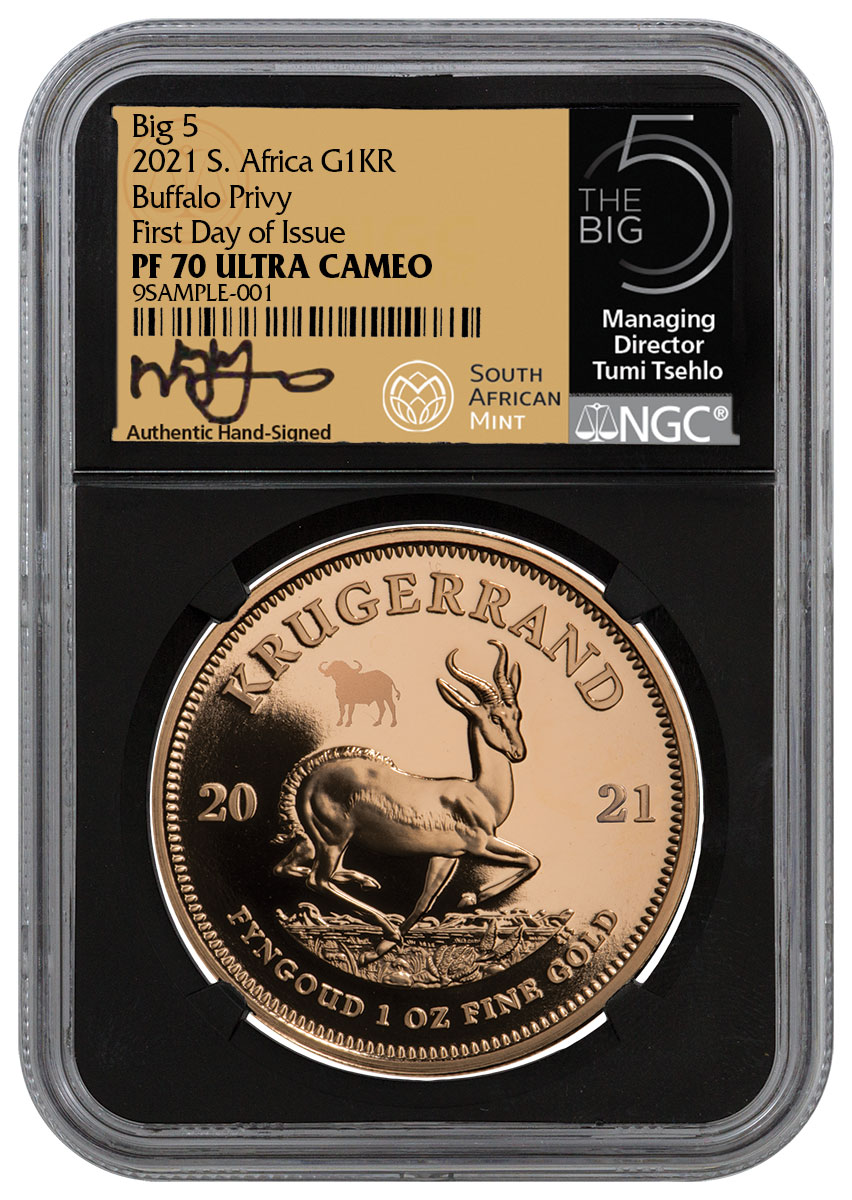 2021 South Africa 1 oz Gold Krugerrand - Big 5 Buffalo Privy Proof Coin Scarce and Unique Coin Division NGC PF70 UC FDI Tumi Signed Big 5 Label