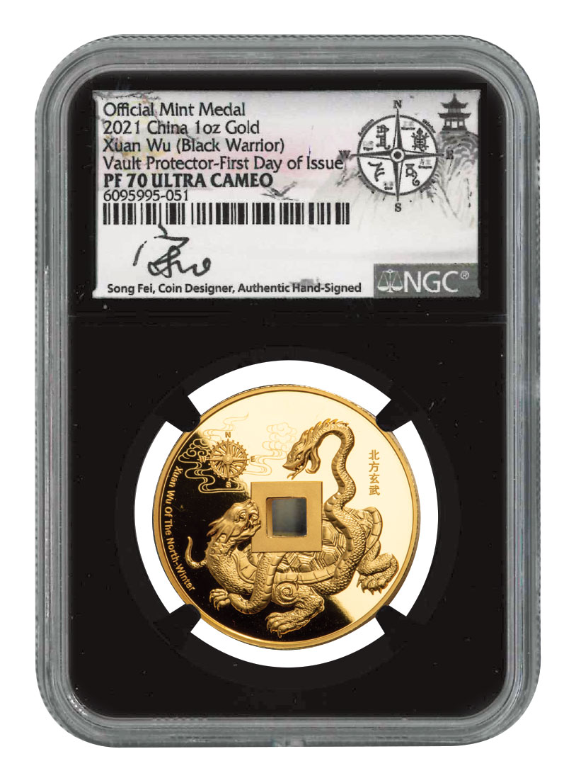 2021 Black Warrior of the North Vault Protector 1 oz Gold Proof Medal Scarce and Unique Coin Division NGC PF70 UC FDI Song Fei Signature Label