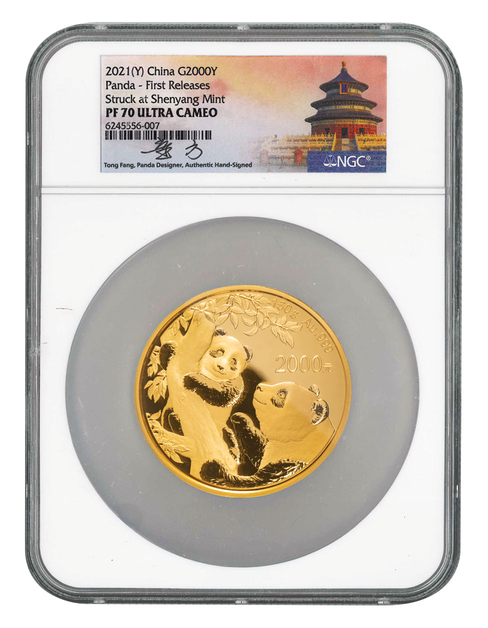 2021 China 150 g Gold Panda Proof ¥2,000 Coin Scarce and Unique Coin Division NGC PF70 UC FR Tong Signed Label