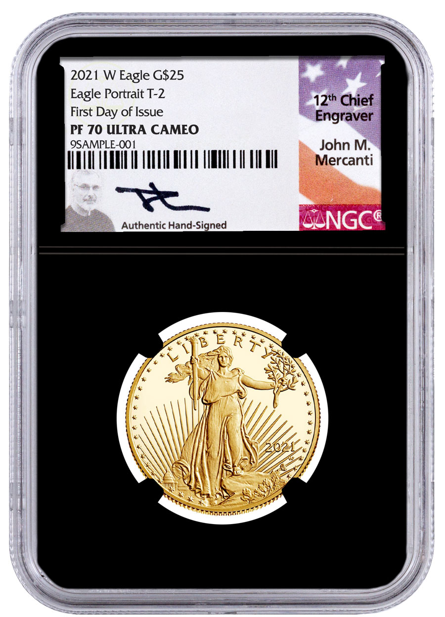 2021-W 1/2 oz Gold American Eagle Type 2 Proof $25 Scarce and Unique Coin Division NGC PF70 UC FDI Black Core Holder Mercanti Signed Label