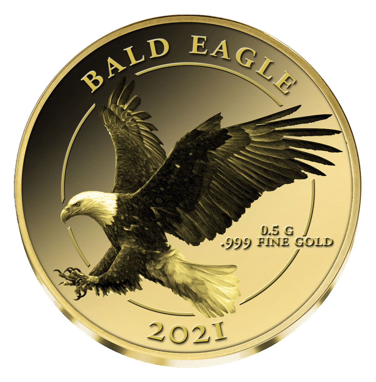 2021 Fiji Bald Eagle 0.5 g Gold Proof $5 Coin Proof