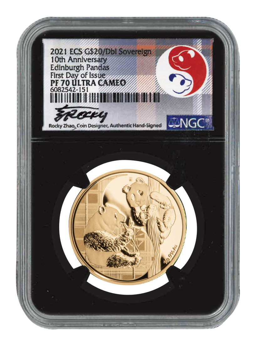2021 Eastern Caribbean States Panda Double Sovereign Gold Proof $20 Coin Scarce and Unique Coin Division NGC PF70 UC FDI Exclusive Zhao Signed Label