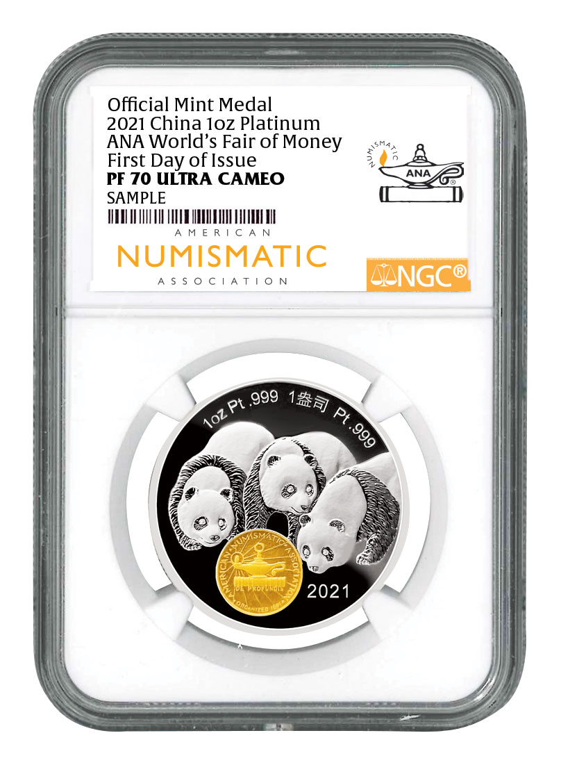 2021 China 1oz Platinum Chicago ANA World's Fair of Money - Show Panda Medal Scarce and Unique Coin Division NGC PF70UC FDI