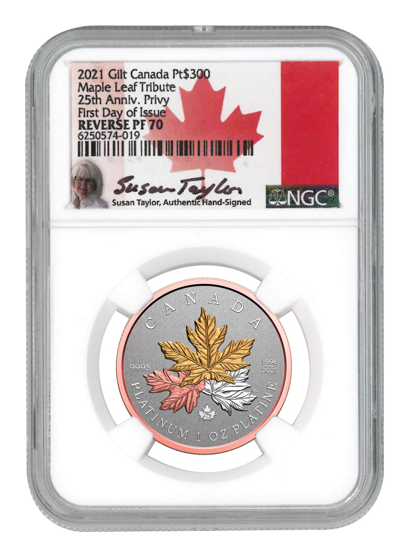 2021 Canada 1 oz Platinum Maple Leaf Gilt Reverse Proof $300 Coin Scarce and Unique Coin Division NGC PF70 FDI Exclusive Susan Taylor Signed Flag Label