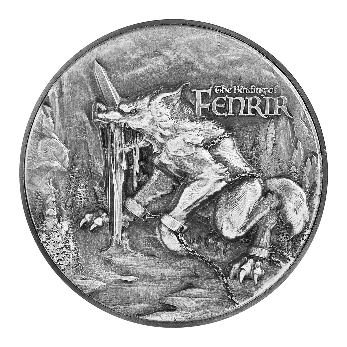 2021 Republic of Chad The Binding of Fenrir High Relief 2 oz Silver Antiqued Fr10,000 Coin