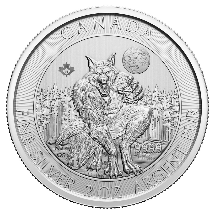 2021 Canada Creatures of the North - The Werewolf 2 oz Silver $10 Coin GEM BU