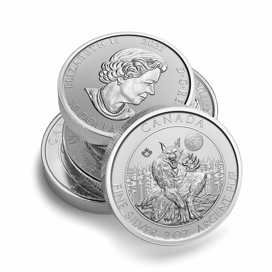 Roll of 14 - 2021 Canada Creatures of the North - The Werewolf 2 oz Silver $10 Coin GEM BU